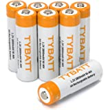 TYBATT 単3形充電池 充電式ニッケル水素電池 2800mAh 8本入り 収納ケース2個付き 単三充電池 約1200回使用可能