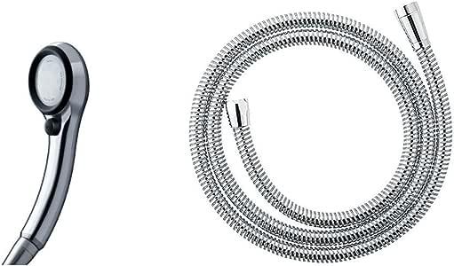 SANEI シャワーヘッド レイニーメタリック ブラック 【約50%の節水効果・ストップ機能付き】 PS-303-81XA-CD & シャワーホース プラチナホース アダプター付き 長さ1.8m PS30-570TXA-1.8【セット買い】