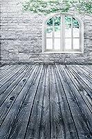 A MonamourビンテージグランジWornホワイト木製床レンガ壁アーチ型ウィンドウインドアウェディングスタジオ写真の背景幕5x 7ft
