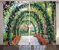 VamJump 国の家の装飾の遮光カーテン 昼夜目隠し 洗える 遮像 デコレーション 取り付け簡単、観賞用植物の経路と花のアーチ庭の緑のロマンチックな絵、リビングルームの寝室の装飾、緑赤 2枚組 幅135cm丈160cm