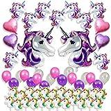 ユニコーンパーティーSuppliesセット、Favors for Kids Happy誕生日デコレーション、ベビーシャワー& # x1 F984 ;フローティングHuge Unicorns、ハートShaped Foil、ラテックスバルーン&カップケーキトッパー、57パックGirlsユニコーンテーマ装飾