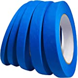 """Blue Painters Tape 1/4"""" 3/8"""" 1/2"""" 5/8"""" 3/4"""" x 60 yd, Multi Size Pack - Painting & Masking Tape - Easy and Clean Removal - Mul"""