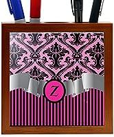 Rikki Knight RK-PH2256 Letter Z Initial Hot Pink Damask and Stripes Monogrammed Design 5-Inch Wooden Tile Pen Holder (RK-PH2256) [並行輸入品]