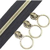 (Anti-Brass Black) - YaHoGa 5 Antique Brass Metallic Nylon Coil Zippers by The Yard Bulk 10 Yards Black Tape with 20pcs Anti-