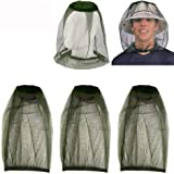HEYUS [3 Pack] Head Net Mesh Face Neck Protection from Insects Bugs Flies Gnats, Beekeeper Anti-Mosquito Bee Fly Mask Cap Hat
