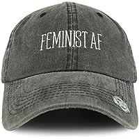 Trendy Apparel Shop Feminist AF Text Embroidered Washed Cotton Unstructured Baseball Cap - Black