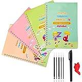 4 PCS English Magic Practice Copybook for Kids, Reusable Writing Practice Book Set, The Print Handwiriting Workbook, Calligra