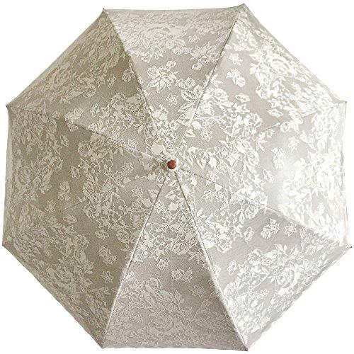 【モカオフ(MCOF)】二重張り薔薇柄レース折りたたみ日傘雨傘