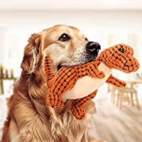 犬用 噛むおもちゃ ペット ぬいぐるみ おもちゃ 音出る 犬用おもちゃ 歯ぎ清潔 丈夫 発声装置搭載 犬玩具 ストレス解消 運動不足 恐竜 (オレンジ)