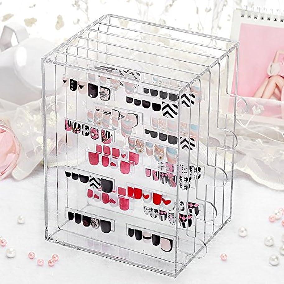 感情注釈を付けるフィールドメイクボックス 透明なアクリルネイル美容ディスプレイストレージボックスジュエリー防塵ケース