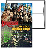 12 HOW TO TRAIN YOUR DRAGON Birthday Invitation Cards (12 White Envelops Included)
