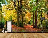Wuyyii カスタム壁紙ホーム装飾壁画公園木の木3Dステレオ壁画風景テレビソファの背景3D Wallpaper-200X140Cm