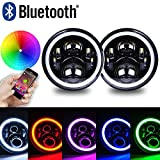 """7"""" LED Headlights with RGB Halo + 4"""" LED Fog Lights for Jeep Wrangler 1997-2017 JK TJ LJ Front Bumper Lamp Driving Lights by Bluetooth Remote Control"""