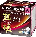 TDK 録画用ブルーレイディスク 超硬シリーズ BD-RE 25GB 1-2倍速 ホワイトワイドプリンタブル 20枚パック 5mmスリムケース BEV25HCPWA20A