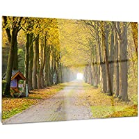 Designart MT9746-28-12 カントリーロード イエローツリー 風景 フォトメタルウォールアート 28x12インチ イエロー 28x12