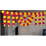 CraftVatika Marigold Fluffy Flower Garlands Toran Bandarwal with Hanging Bells Set for Main Door Wall Hangings Diwali Decorat