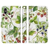 Ruuu iPhone XR 手帳型 スマホ ケース カバー 水彩 フルーツ ボタニカル いちご 苺 ブルーベリー くだもの 柄 模様 花 はな 可愛い かわいい おしゃれ ユニーク レディース