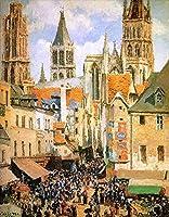 手描き-キャンバスの油絵 - the old market at rouen カミーユ・ピサロ Parisian 芸術 作品 洋画 -サイズ11