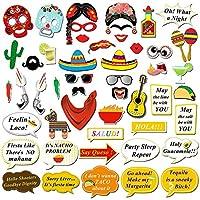 Kotbs 50個 メキシコ フィエスタ 写真ブース 小道具 面白いフォトブース 自撮り用小道具 メキシコ誕生日 ウェディング 独身お別れパーティーのフィエスタテーマ パーティーの景品 デコレーション