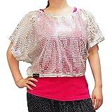 SKILLFLAVA (スキルフレイバ) ダンス 衣装 ドルマン Tシャツ レディース シルバー ドルマンスリーブ ラメ スパンコール Mサイズ