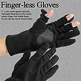 スマートフォン(スマホ)・タッチパネルに使いやすい指先フード手袋【指先フードのスマホグローブ】(手ぶくろ/グローブ)フリーサイズ/ ブラック