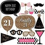 Finally 21 Girl - 21st Birthday Party Photo Booth Props Kit - 20 Count