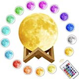 Moon Lamp,3D Printed Night Light Remote Control 16 Colors Change Optical Illusion LED Lunar Moonlight Globe Ball with Wood St