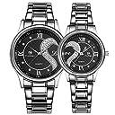 ロマンチック カップル メンズ レディース ウォッチ ステンレス ベルト ペア 腕時計 ハート型デザイン 銀色 2本セット D-102