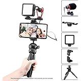 スマートフォンビデオキット マイク、LEDライト、スマホホルダー、ミニ三脚付き 垂直&水平 vlog YouTube 映画製作用 iPhone Samsung Huawei OPPO QUKITEL UMIDIGI 対応 (lightning 3.5mm含まれていません)