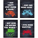 "HPNIUB Unframed Gamer Art Prints,Set of 4 (8""X10"",Video Game Wall Decor, Gaming Canvas Posters Watercolor Controller Console"