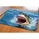 Dellukee Indoor Outdoor Doormats Cute Shark Printed Non Slip Durable Washable Funny Home Decorative Door Mats Bath Rugs for E