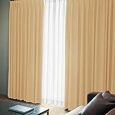窓美人 エール 遮光性カーテン&UVカットミラーレース シャンパンゴールド 4枚セット(カーテン2枚/レース2枚) 幅100×丈178(176) cm カーテンフック付 洗える 省エネ