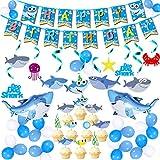 サメのパーティーデコレーション 男の子用 サメ ハッピーバースデー バナー サメ パーティー 渦巻 デコレーション キュート シャークの渦 飾り 吊り下げ 渦巻き 天井装飾 ミニシャークバルーン シャークケーキ トッパー シャークテーマ パーティー用品 男の子 女の子 子供用