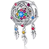 Dream Catcher Charm fit Pandora Charms Bracelet 925 Sterling Silver Feathers Tassel Bead Charm with Colorful Stones Pendant f