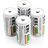 EBL 5000mAh High Capacity Ni-MH Rechargeable C Batteries, 4 Pack (Battery Case Included)