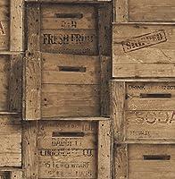 Fine Decor独特な木製Crates壁紙ブラウン( fd40943)