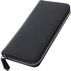 [ゲーネン] カードが出し入れしやすい ラウンドファスナー 長財布 本革 カーボン メンズ YKK製