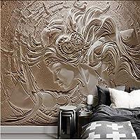Lcymt ヨーロッパの3Dエンボス美容壁画パーソナライズされたカスタム写真の壁紙リビングルームテレビの背景壁画単織防水壁画-120X100Cm