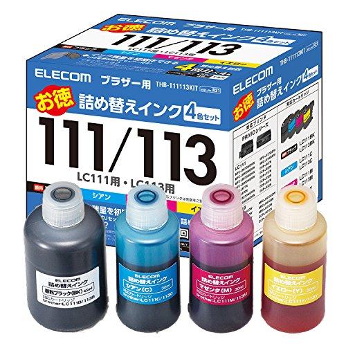 エレコム 詰め替えインク ブラザー LC111 LC113対応 4色セット 4回分 リセッター付 THB-111113KIT