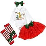 Newborn Baby Girl 1st Christmas Skirt Outfit Long Sleeve Romper Tutu Tulle Skirt Bownot Headband Set