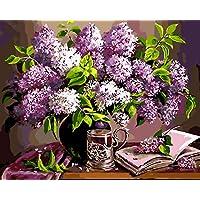 キッズペイントby Numberキット、DIY oilペイントby Numbersキャンバス絵画美しい花( 16 x 20inch、Unframe )