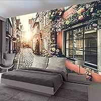 Wuyyii カスタム3D写真の壁紙リビングルームヨーロッパ街ストリートベッドルームテレビの背景ダイニングルームの壁壁画装飾-250X175Cm