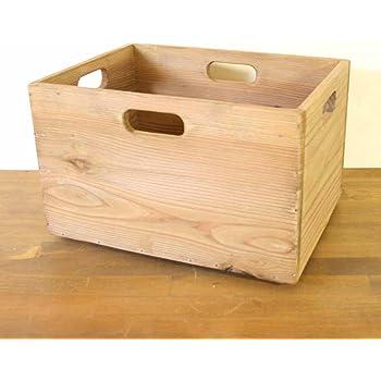 シェルフボックス 収納木箱 スタッキング アンティーク調 カントリー 約35.5x26.5x22.5cm