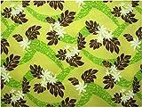 ハワイ直輸入の生地(ハワイアンファブリック)/黄色地(イエロー)に白(ホワイト)のティアレ(ガーデニア・くちなし)と茶と黄緑のモンステラの総柄