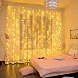 Curtian String Lights, 300 LEDs Window Curtain Fairy Lights Copper Wire Twinkle Star String Lights USB Remote Control 8 Modes