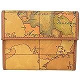 (プリマ・クラッセ)PRIMA CLASSE プリマクラッセ 財布 三つ折り財布 小銭入れあり W019 6000 NATURAL Geo Classic 世界地図柄 マップ柄 ベージュ系 [並行輸入品]