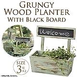 木製プランター 黒板付き 3号寄せ植え 天然木 フラワーポット 鉢カバー アンティーク 角型 ガーデン ガーデニング エクステリア