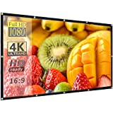 100 inch 16:9 HD Projector Screen, Anti-Crease Foldable Portable Indoor and Outdoor Projector Movies Screen, Support Front an