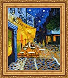( v16–15–16)ファン_ van _ゴッホ_ Cafe _テラス_ at _ night _フレーム_キャンバス_ Giclee _プリント_ w22_ X _ h26.5 +[Large] #11-Gold V16-16K-MD535-01