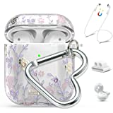 Queenxbar 5 in 1 Protective Cover Floral Print Cute Case Airpods Accessories Sets Bling Crystals from Swarovski with Strap/Ea